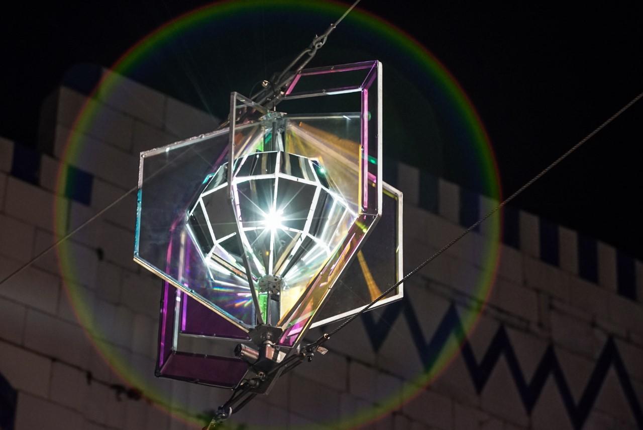 Festive lights across bold street and castle street